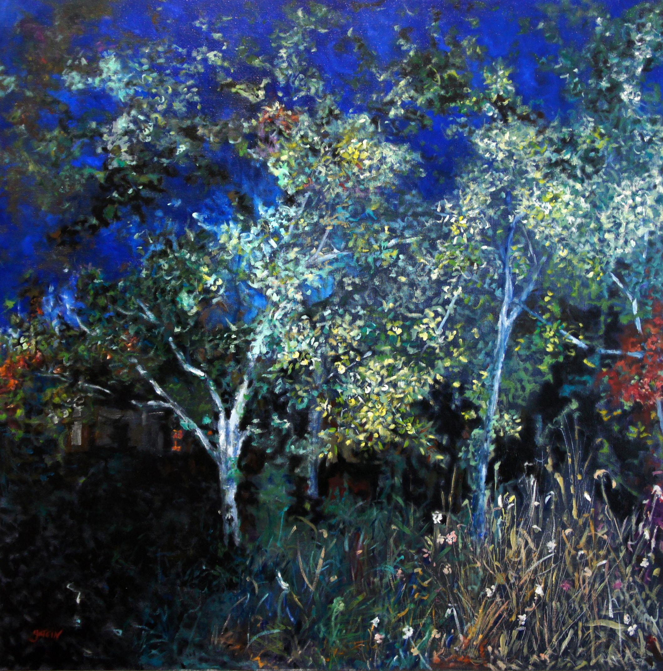 Heure bleue 1, 2019,  huile sur toile 100 X 100 cm
