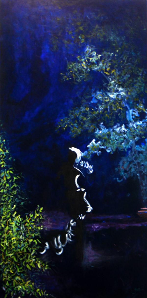 Heure bleue 3, 2019, huile sur toile 120 X 60 cm