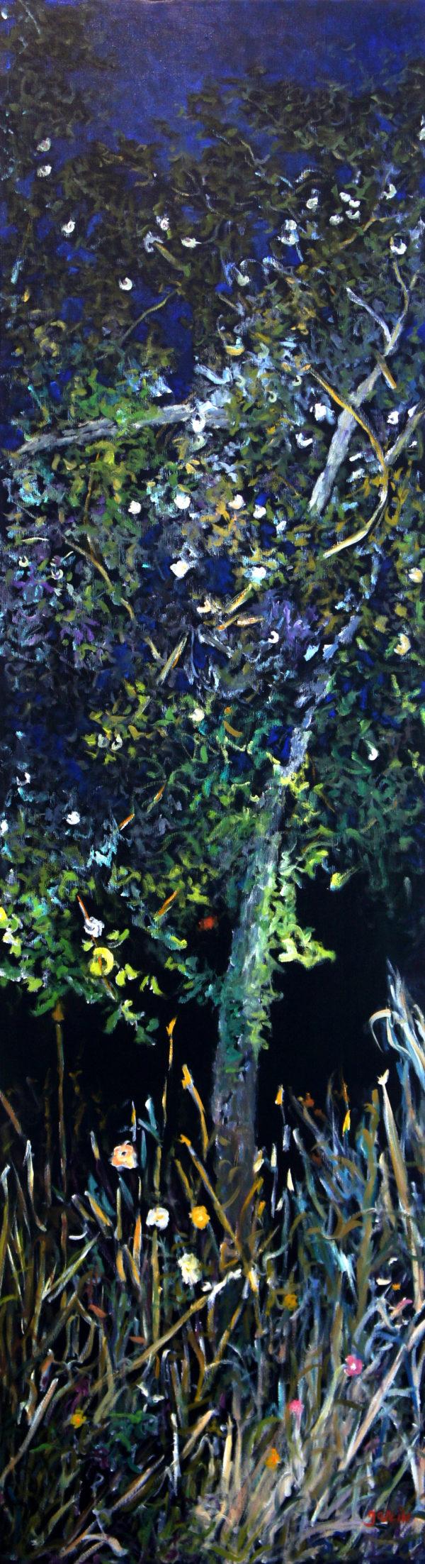 Heure bleue 2, 2019, huile sur toile 161 X 46 cm