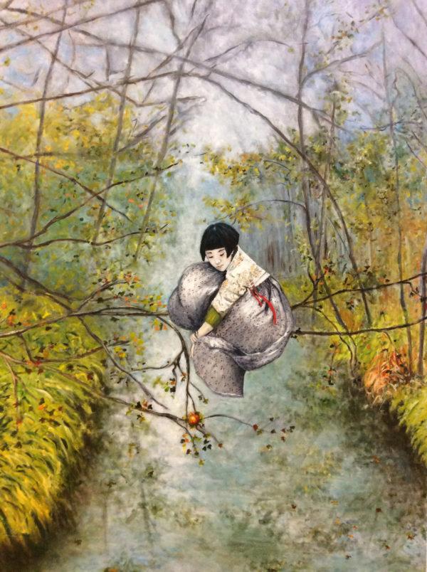 Petite fille au ruban rouge,  2019, Huile sur toile, 162 X 101 cm