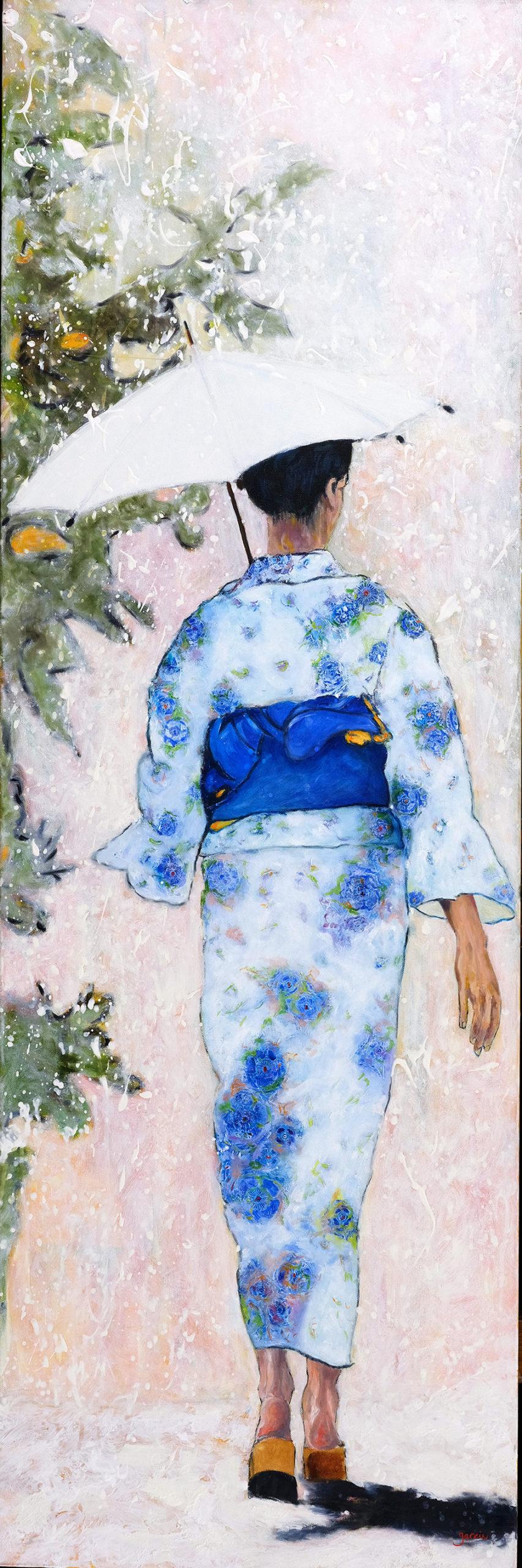 Geisha ombre noire, huile sur toile 150 X 50 cm