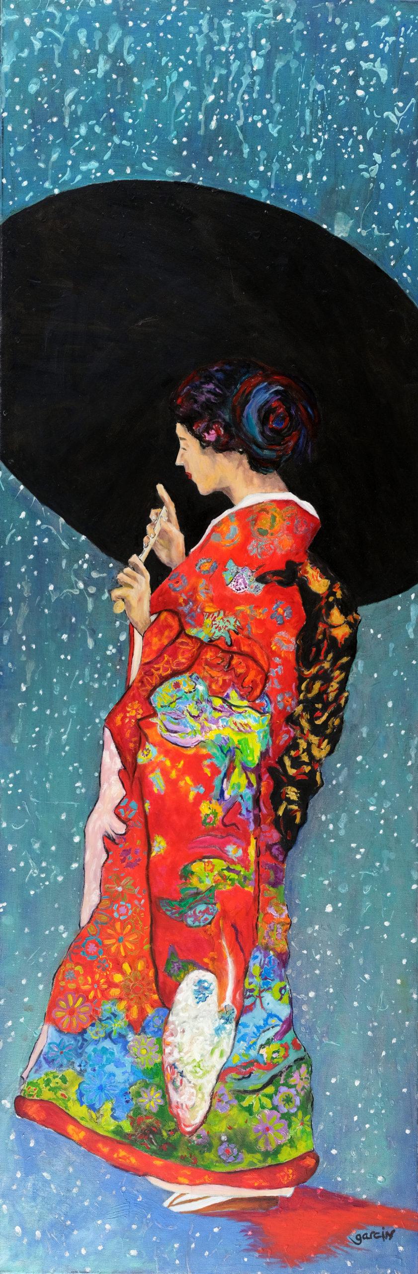 Geisha ombre rouge, 2018, huile sur toile 150 X 50 cm