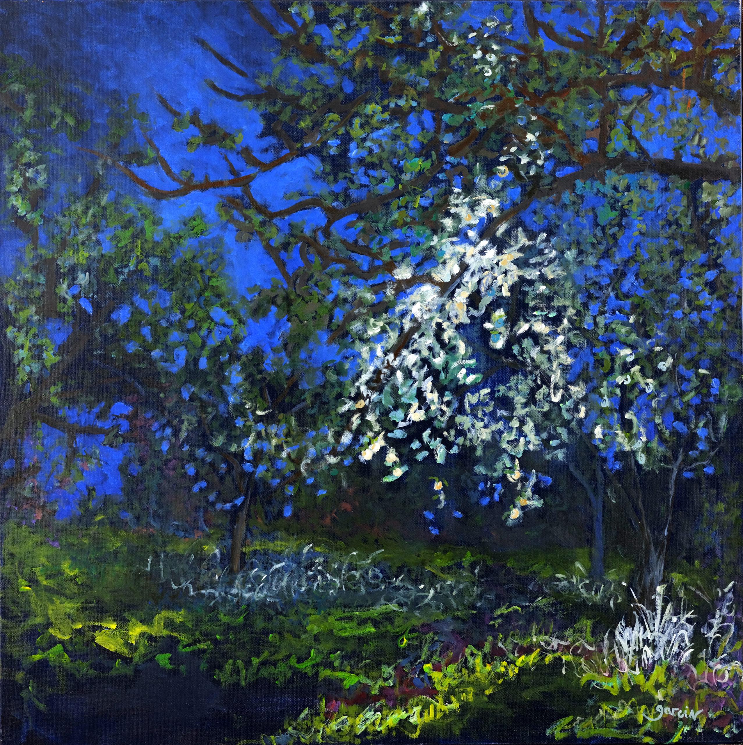 Heure bleue 5, 2019, huile sur toile 80 X 80 cm