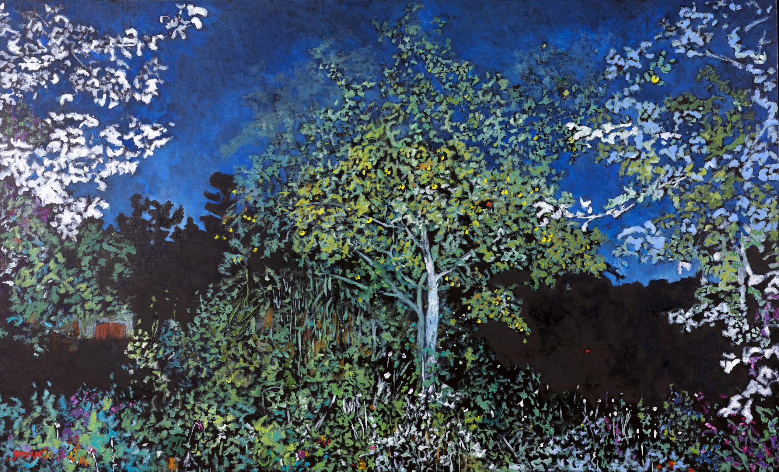 Heure bleue au pommier, 2018, huile sur toile 145 X 89 cm