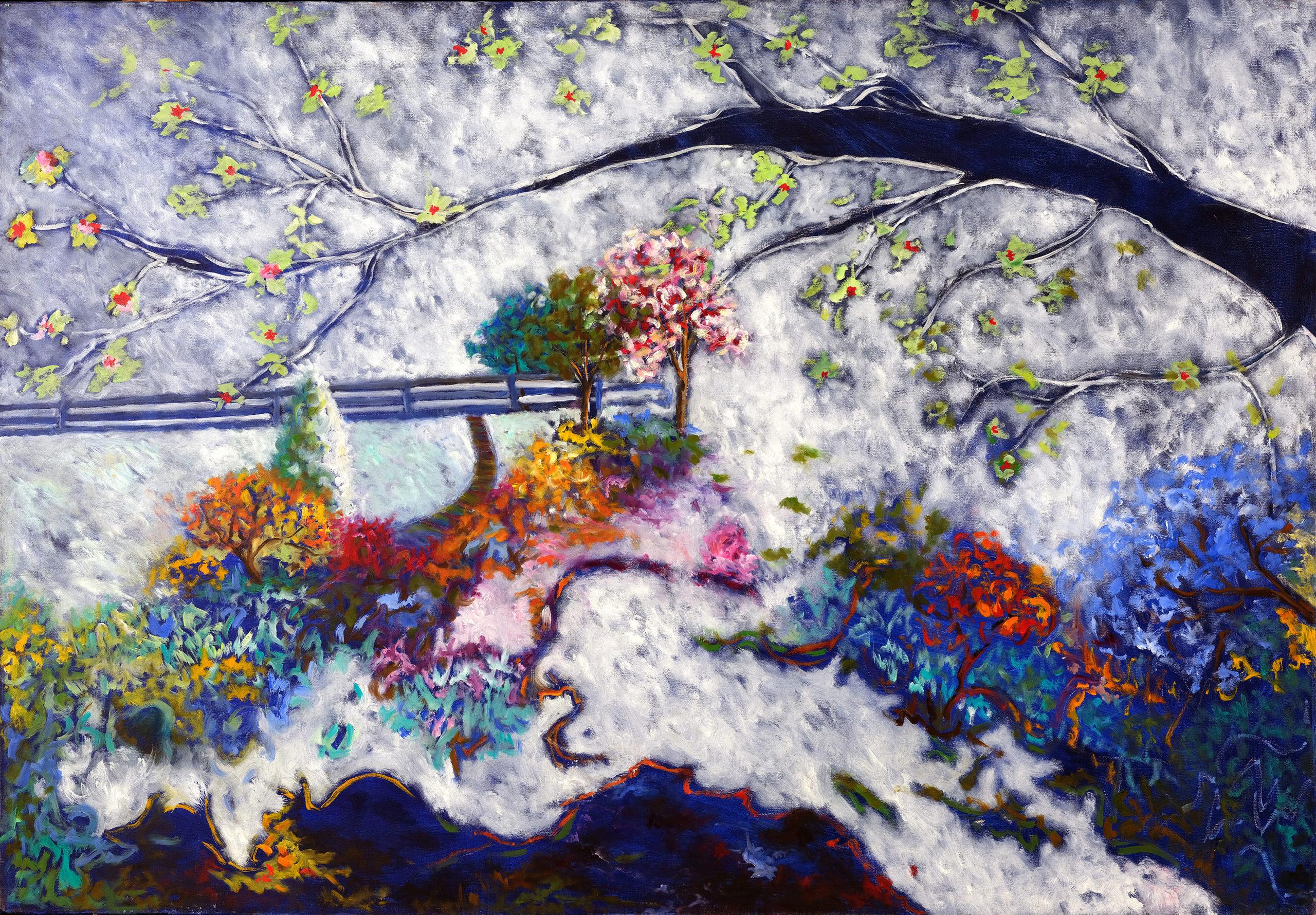 Branche bleue noire, 2000, huile sur toile 116 X 81 cm