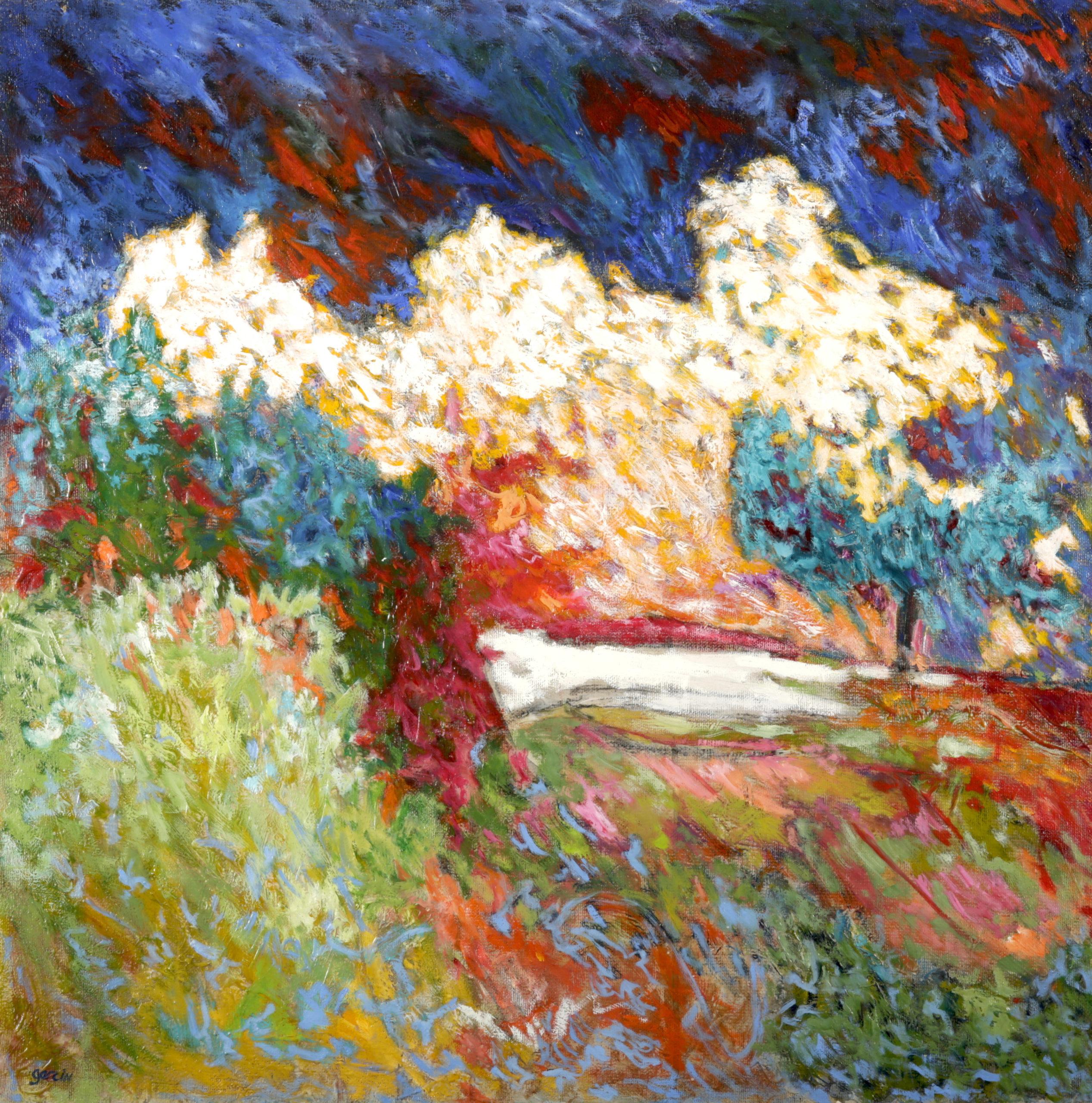 Arbre bleu au nuage blanc, huile sur toile 80 X80 cm