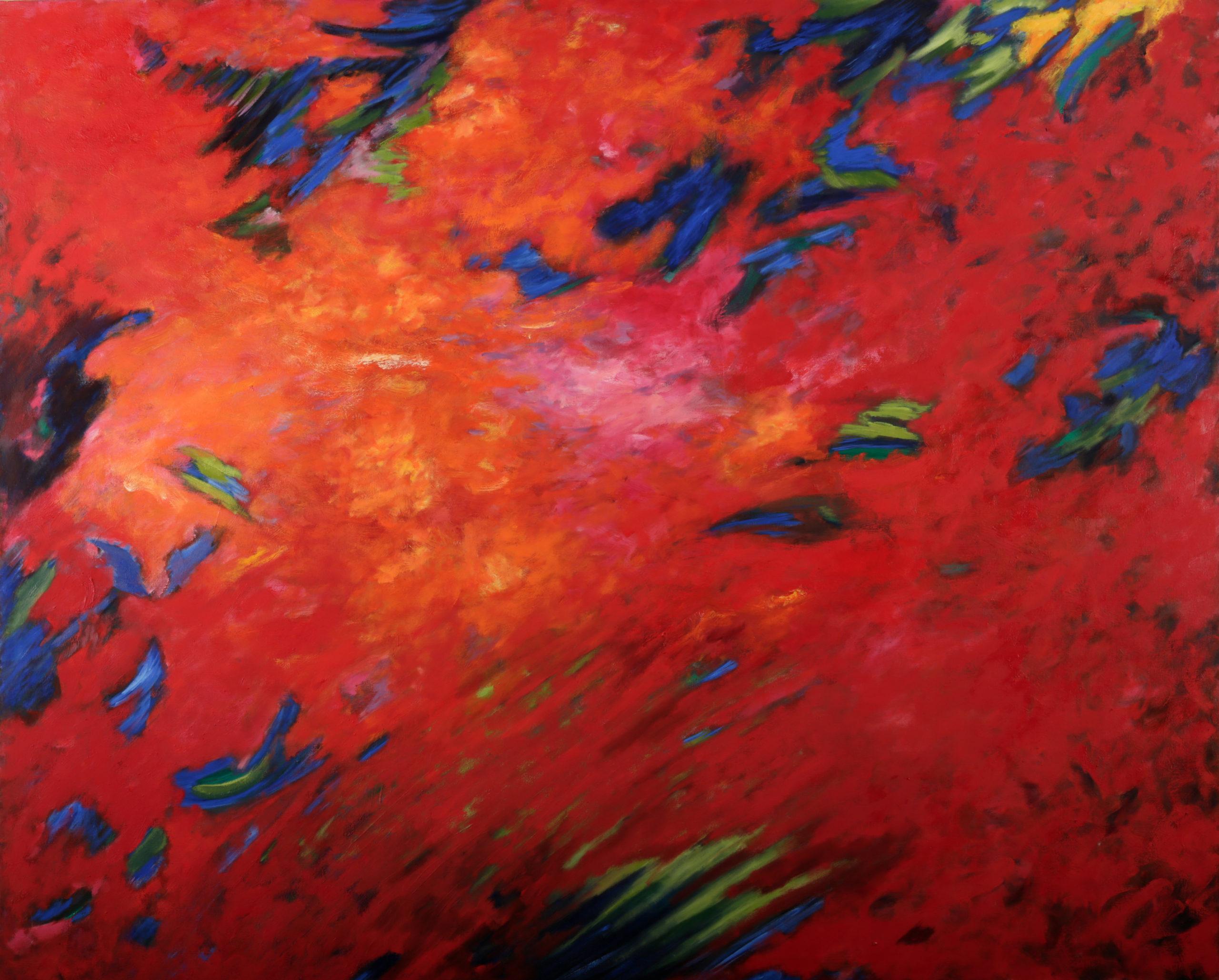 rouge, bleu vert, huile sur toile 162 X 130 cm