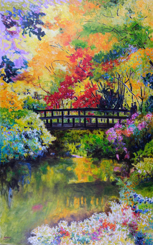Le pont, 2018, huile sur toile 160 X 101 cm