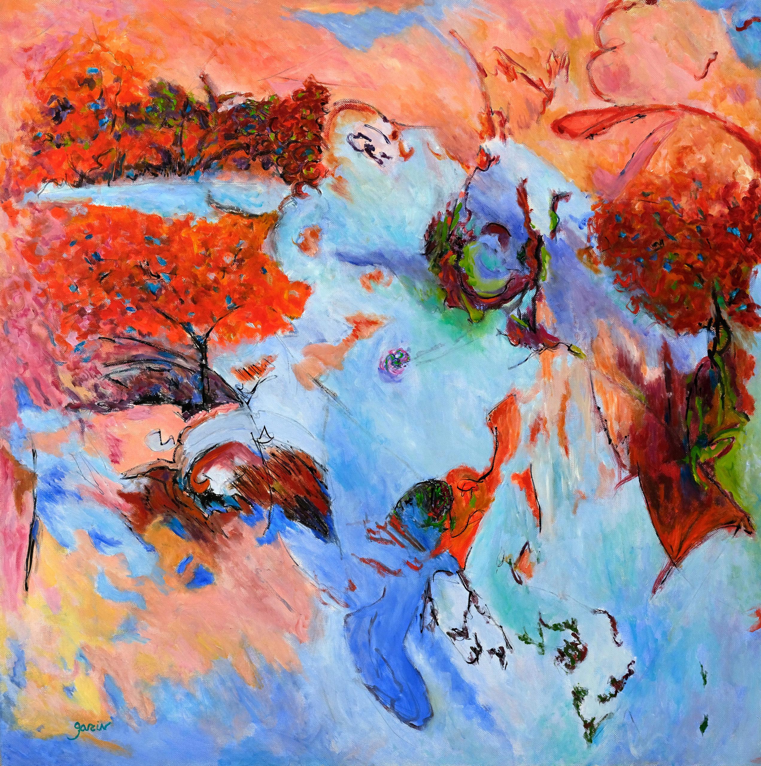 Paysage orange-bleu, huile sur toile 80 X 80 cm