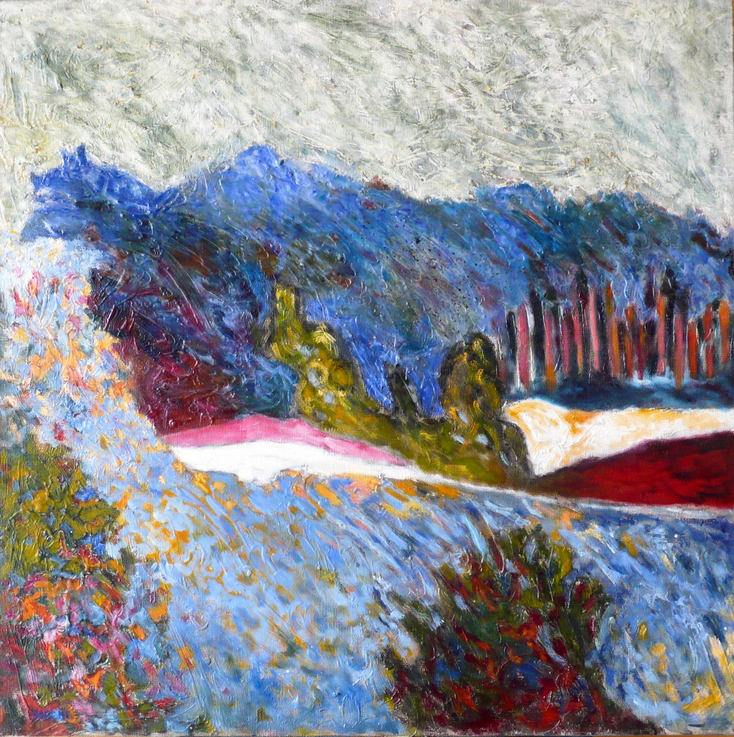 Forêt bleue tache, rose, huile sur toile 80 x 80 cm