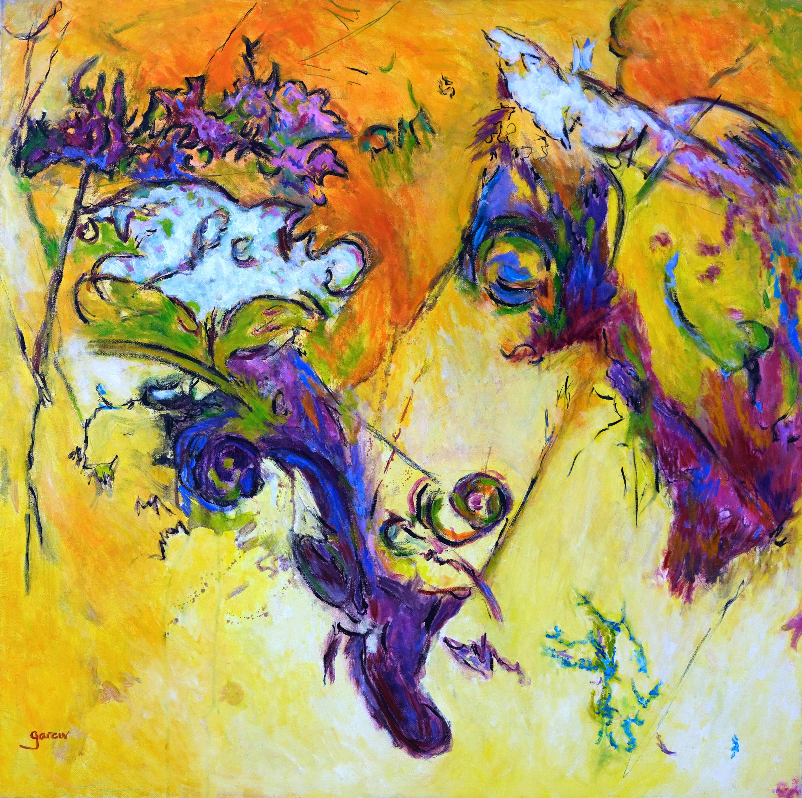 Paysage Jaune-violet,  huile sur toile 80 X 80 cm