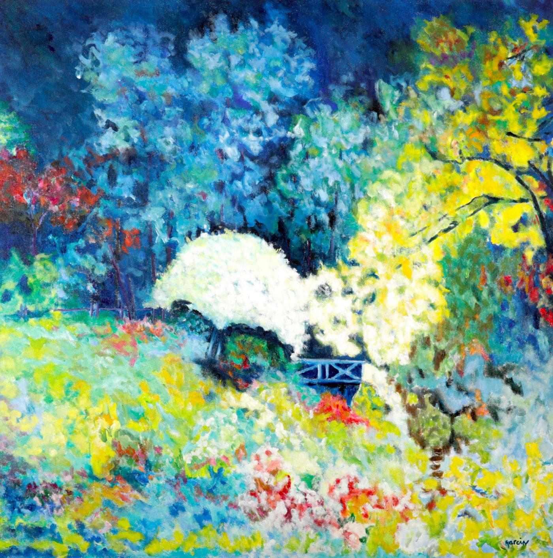 Arbre blanc au pont, huile sur toile 80 X 80 cm