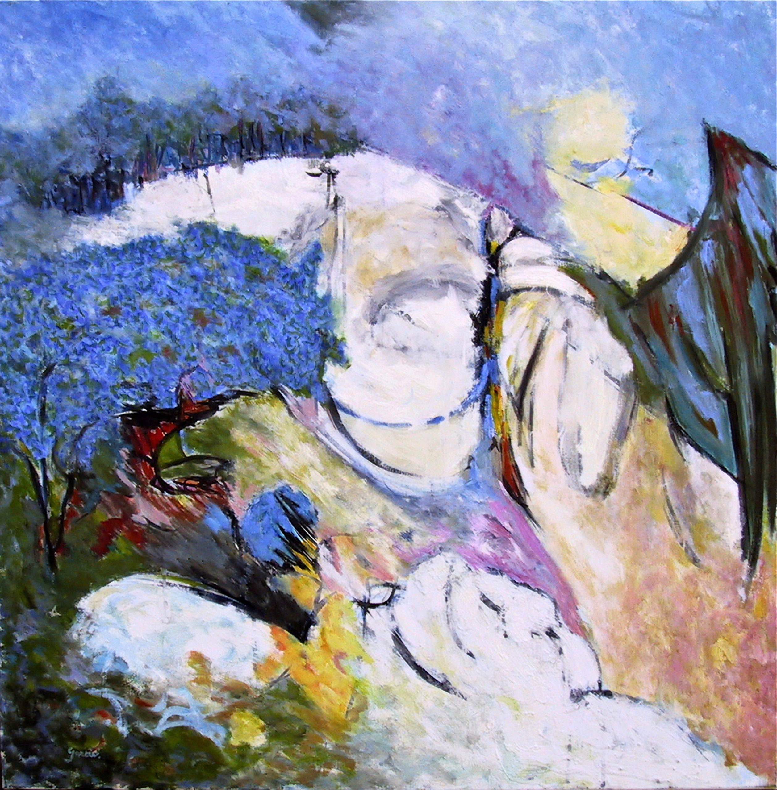 Aile blanche, 2013, huile sur toile 80 X 80 cm