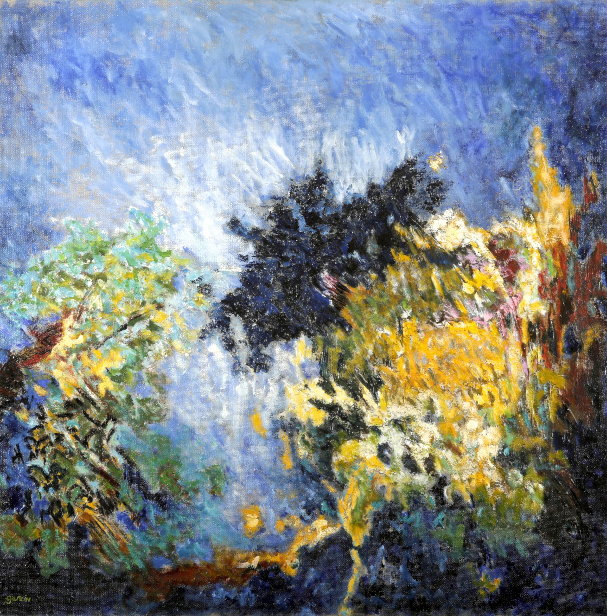 Paysage ardent, huile sur toile 80 X 80 cm