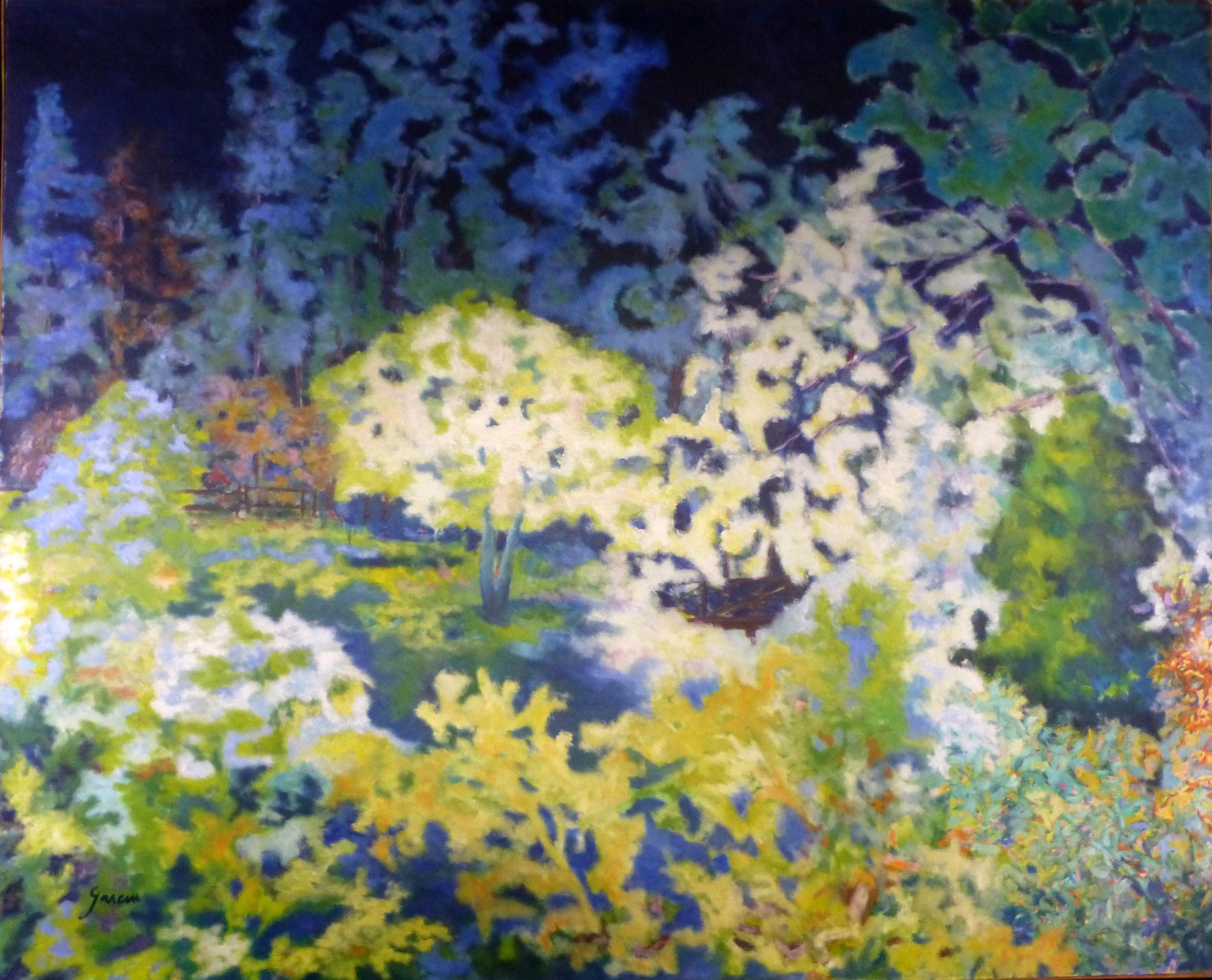 Paysage de nuit, 1989, huile sur toile 130 X 107 cm