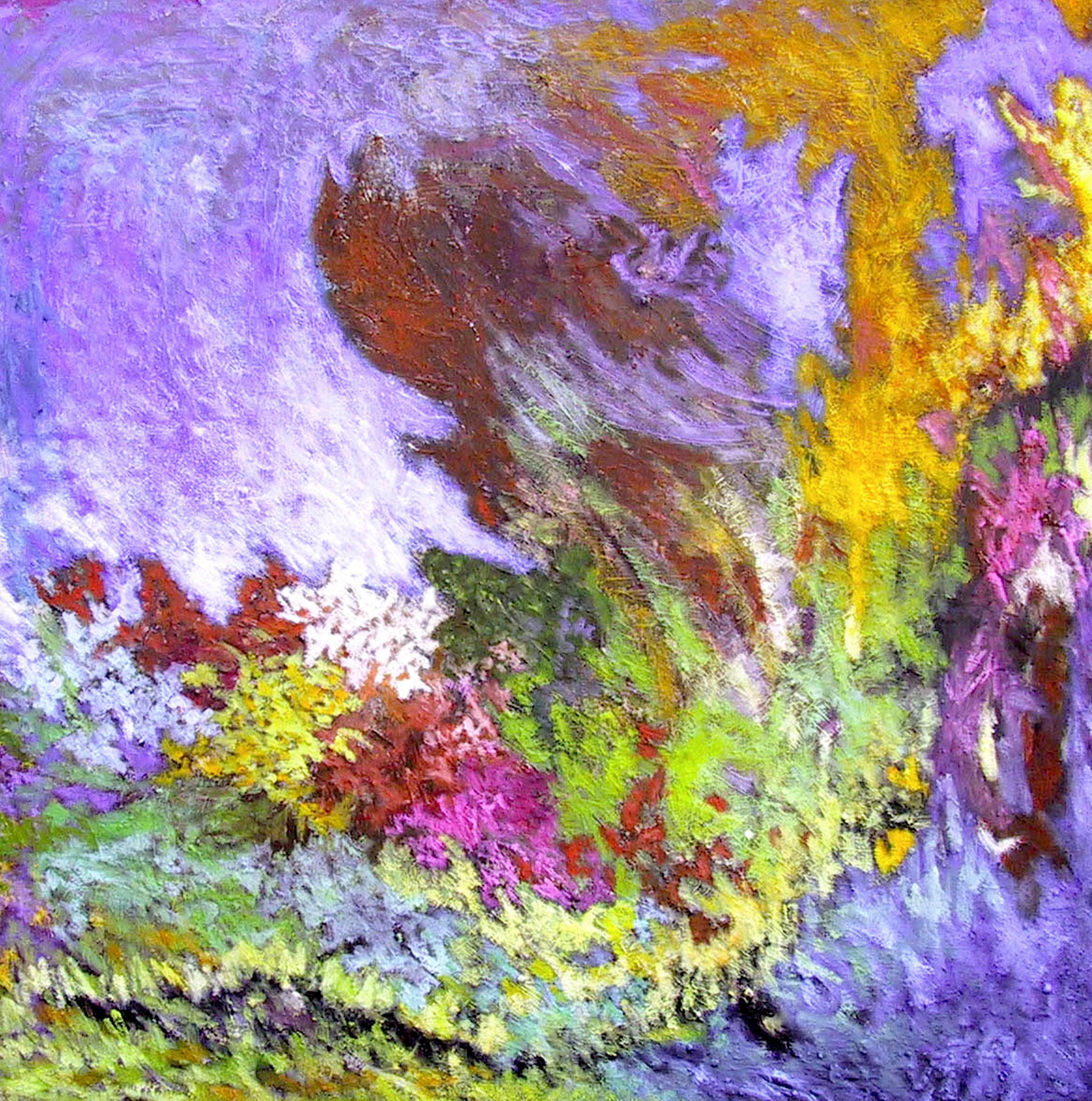 Paysage violet, huile sur toile 80 X 80 Cm