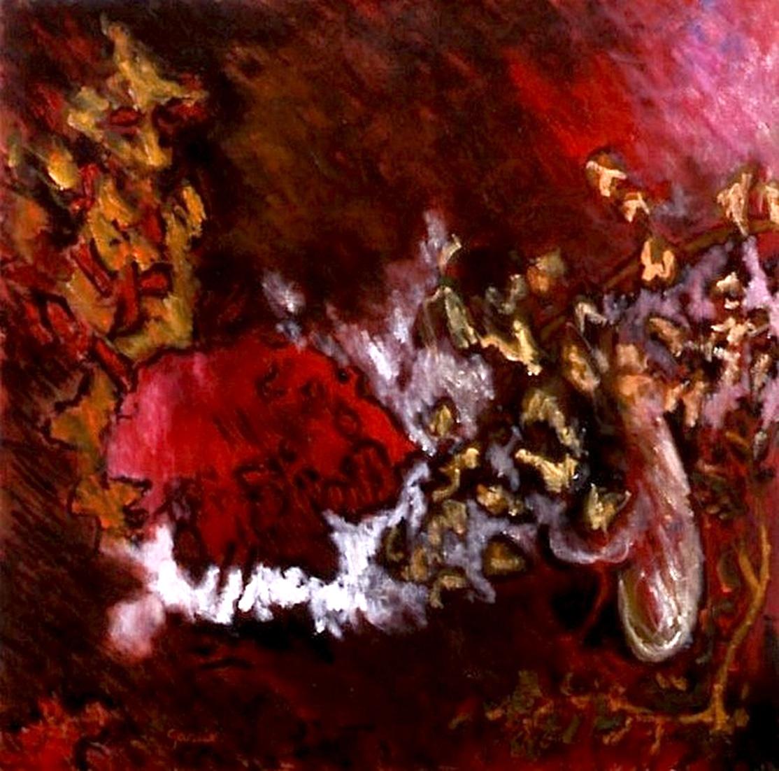 Arbre rouge, huile sur toile 40 X 40 cm