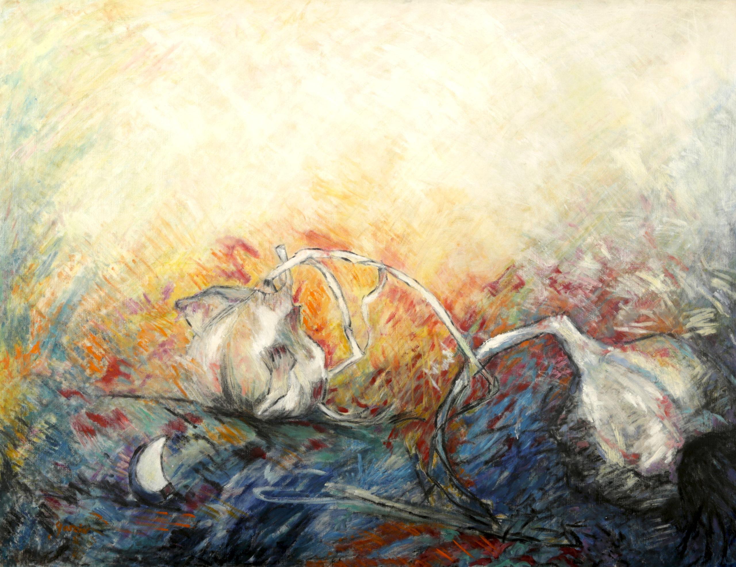Conversation, huile sur toile 150 X 100 cm