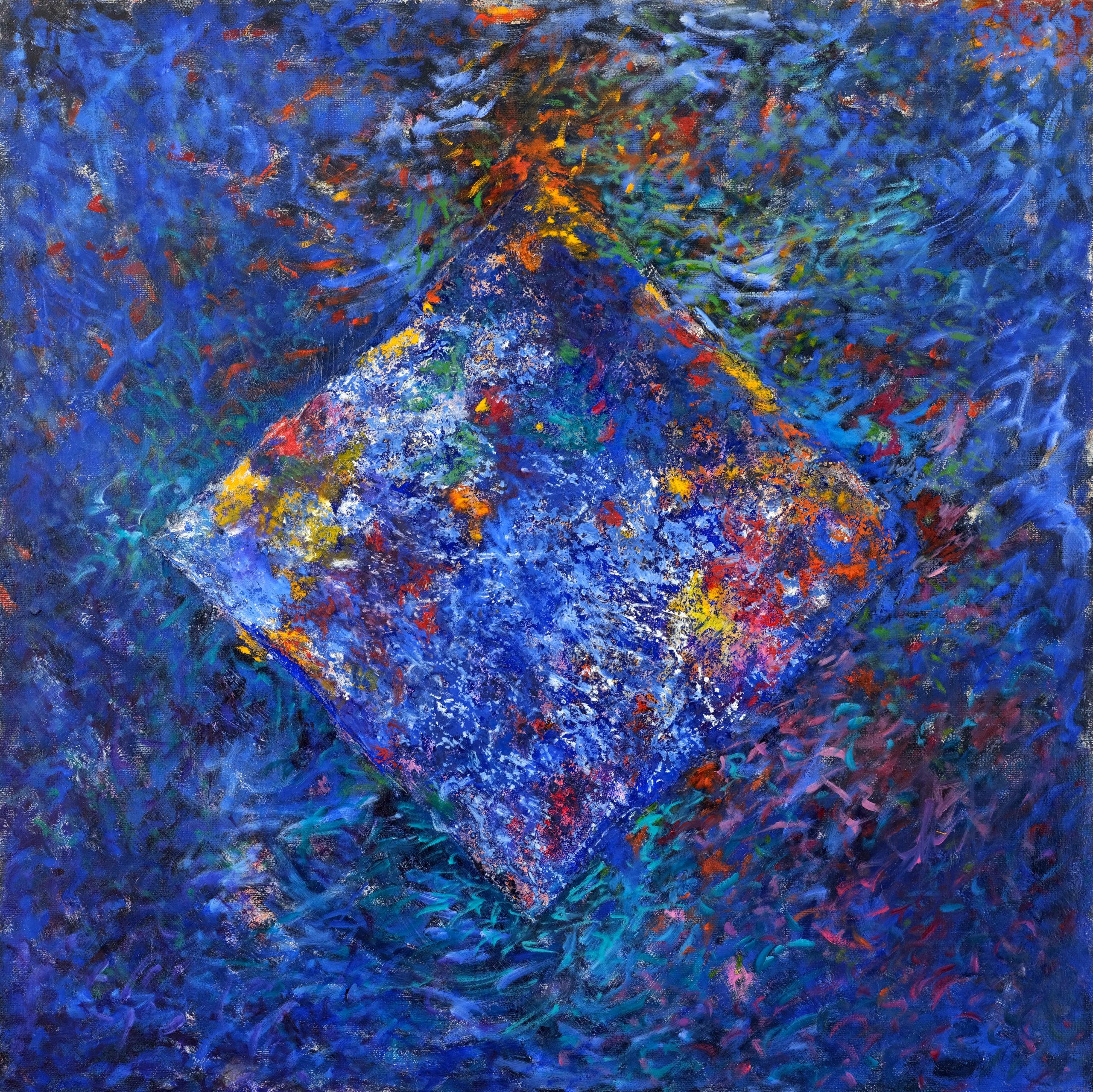 Losange bleu, huile sur toile 80 X 80 cm