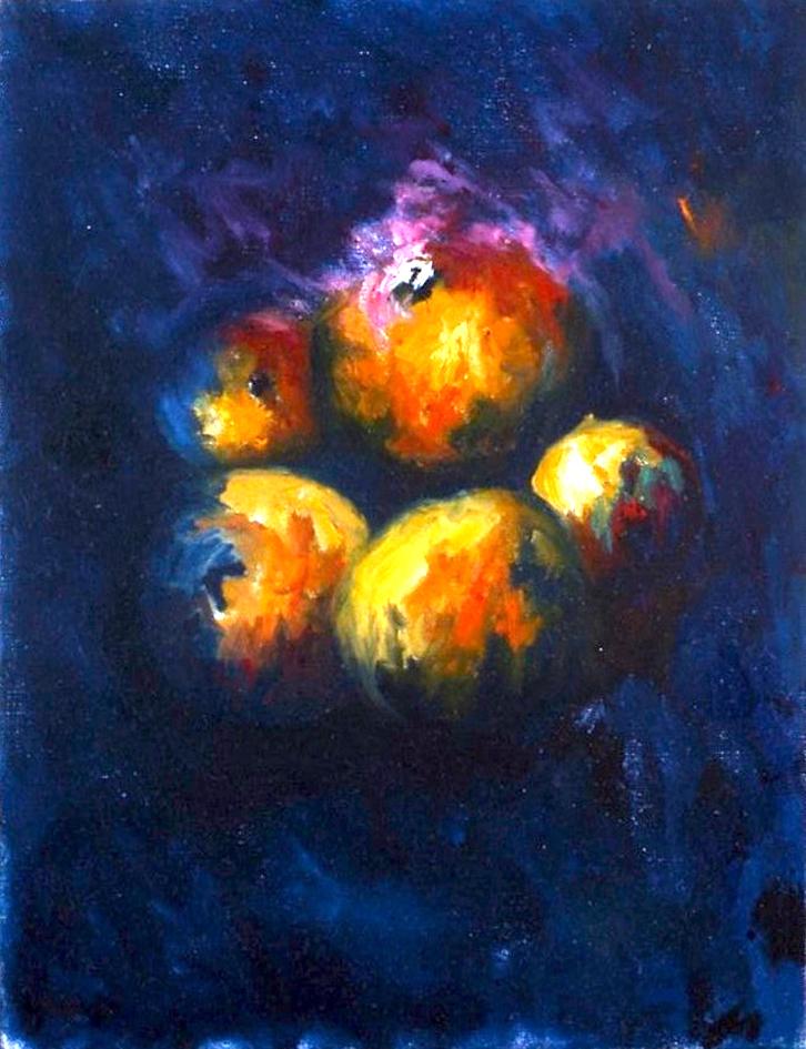 Pomme bleue, huile sur toile 33 X 24 cm