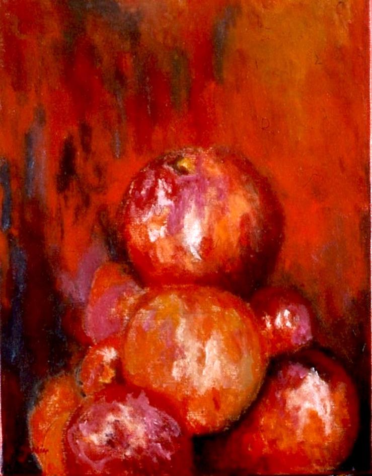 Pomme orange, huile sur toile 33 X 24 cm