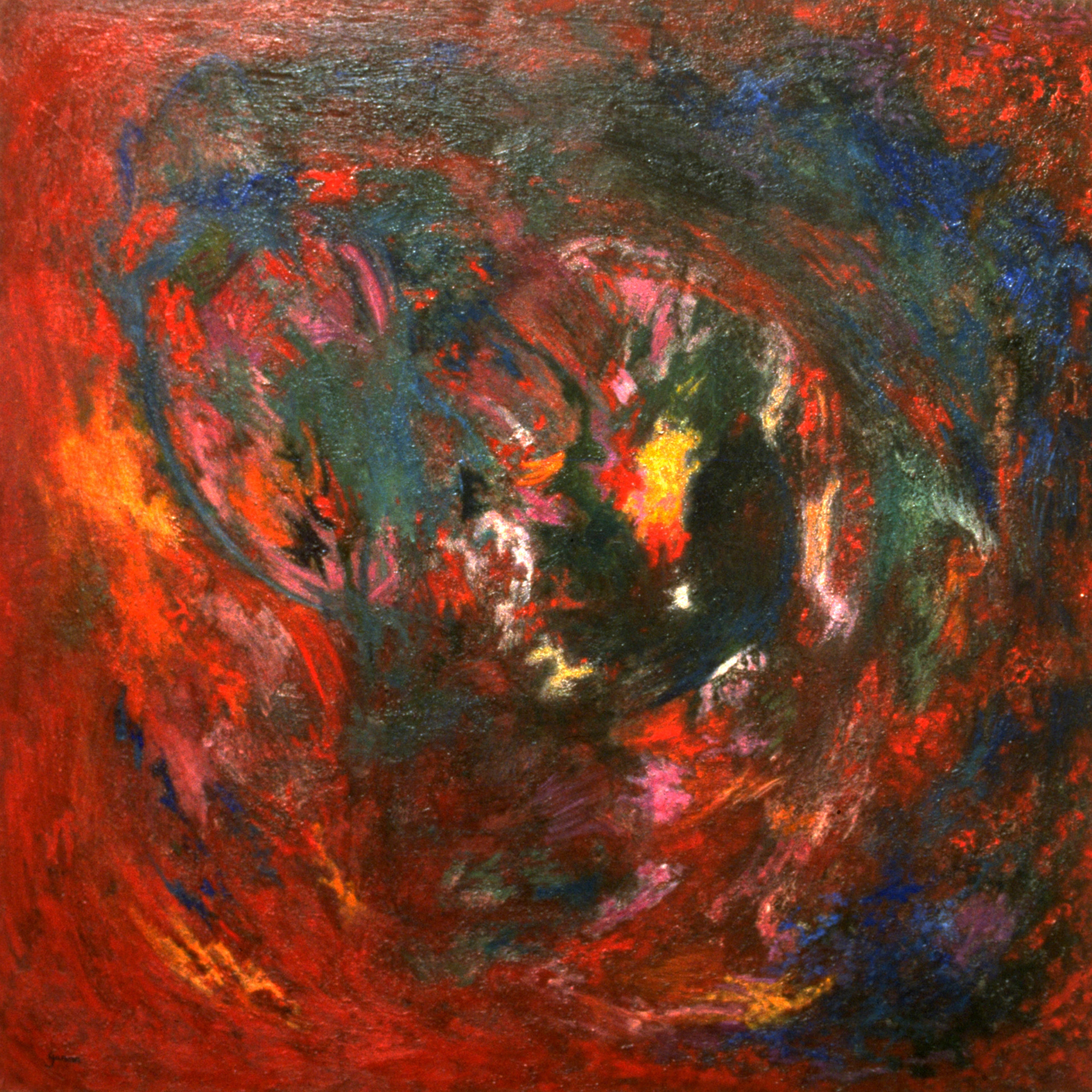 Spirale rouge, 1994, huile sur toile 100 X 100 cm