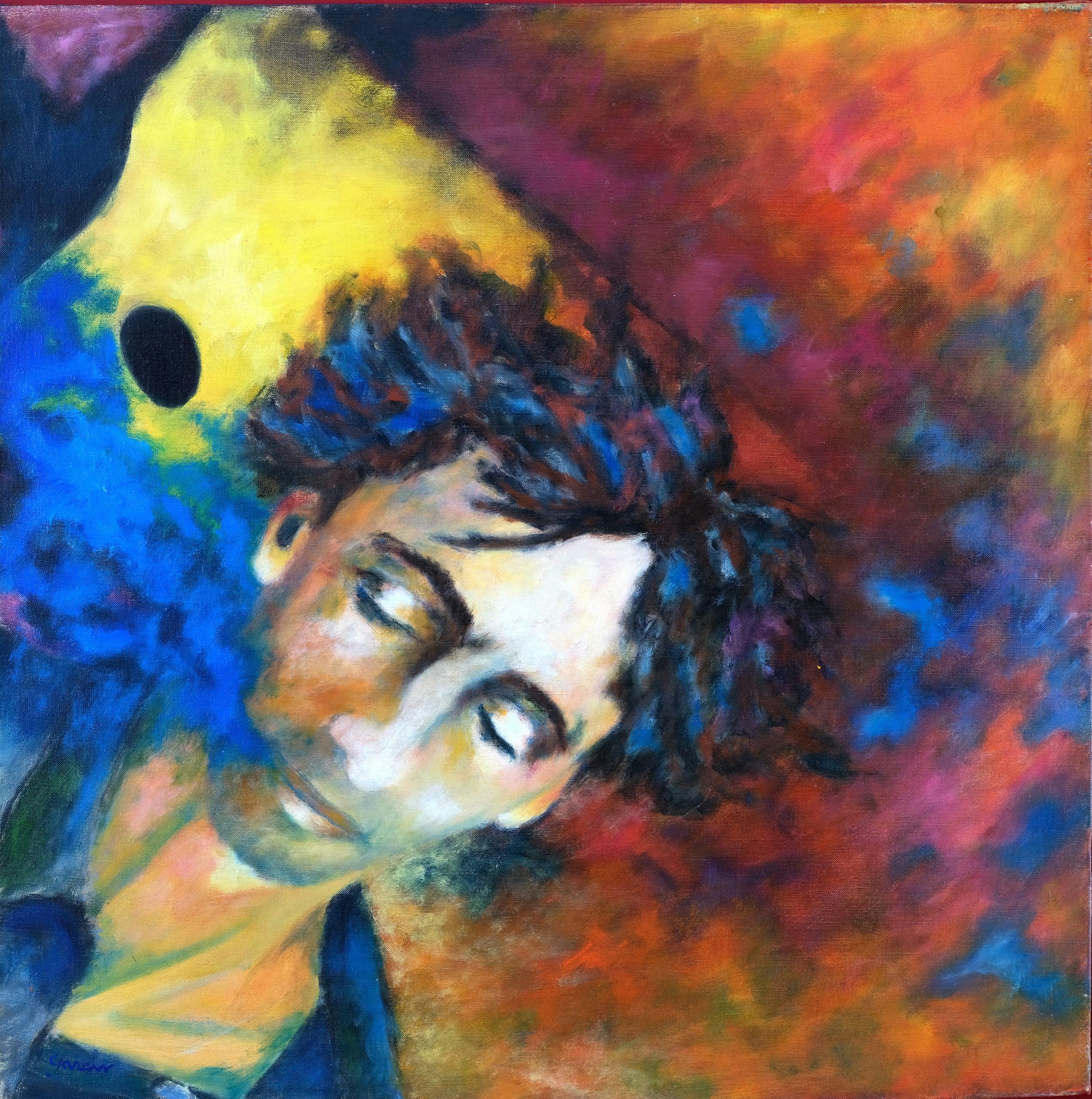 Autoportrait, 1996, huile sur toile 50 X 50 cm
