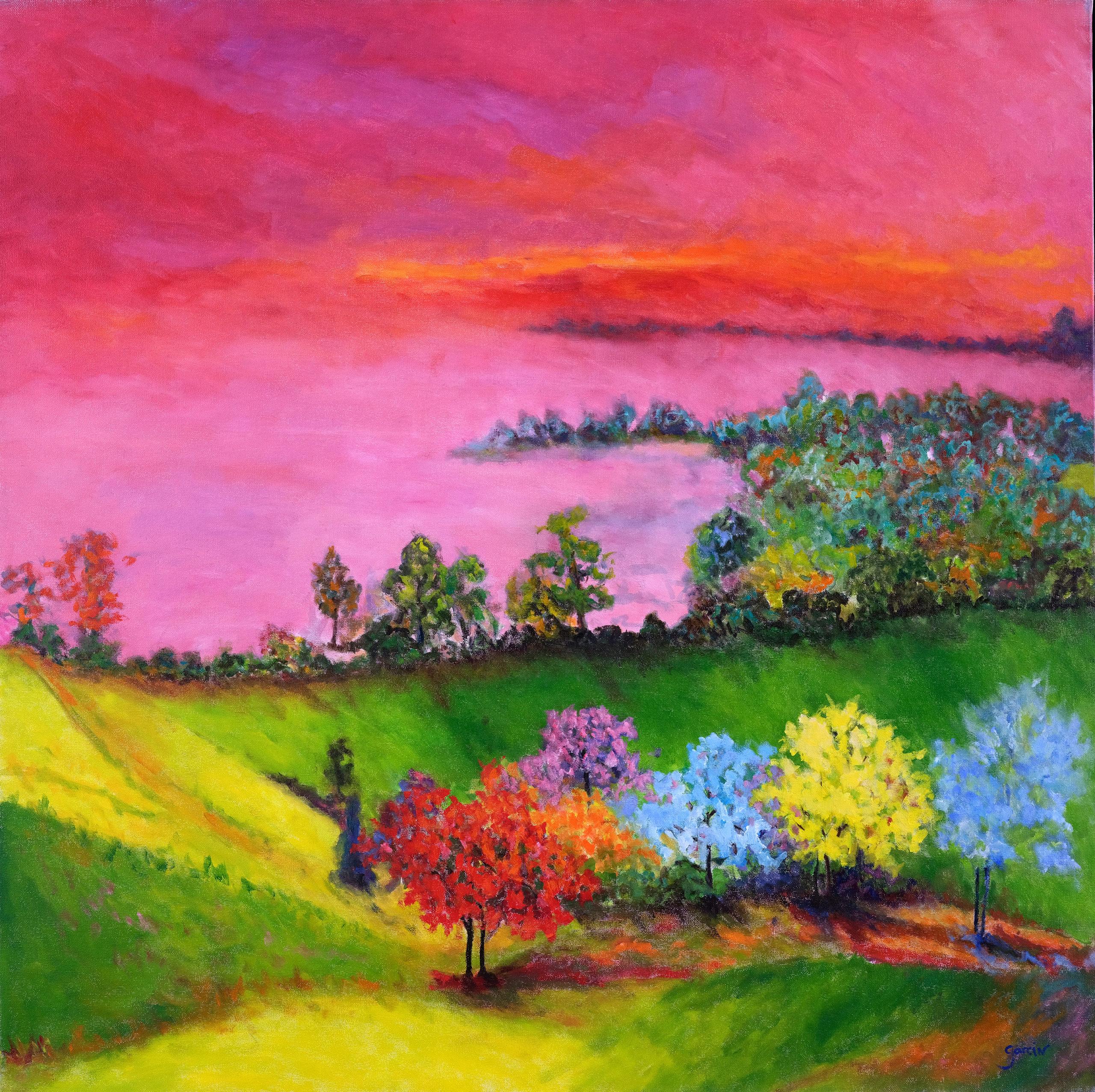 L'arrivée du printemps, 2015, huile sur toile 80 X 80 cm
