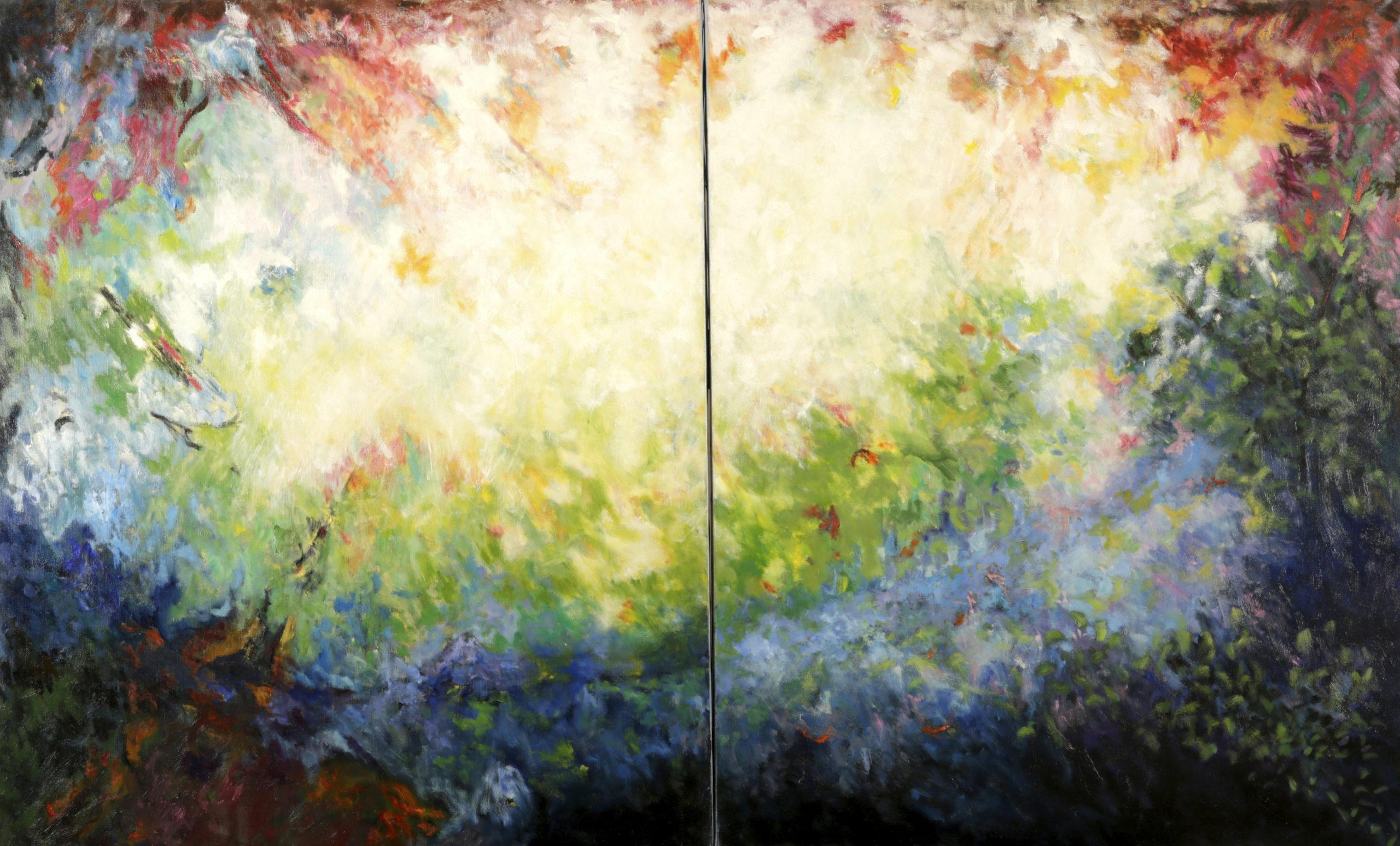 Diptyque,  huile sur toile 160 X 100 cm