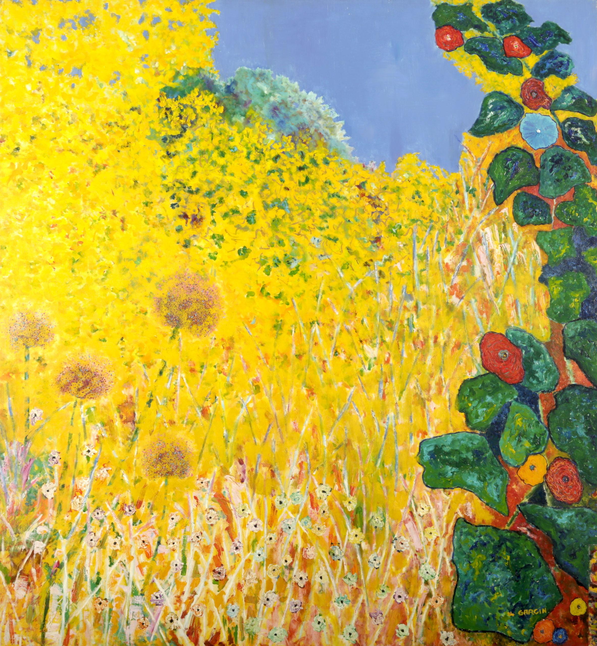 Fleurs d'ail, 1984, huile sur toile 130 X 130 cm