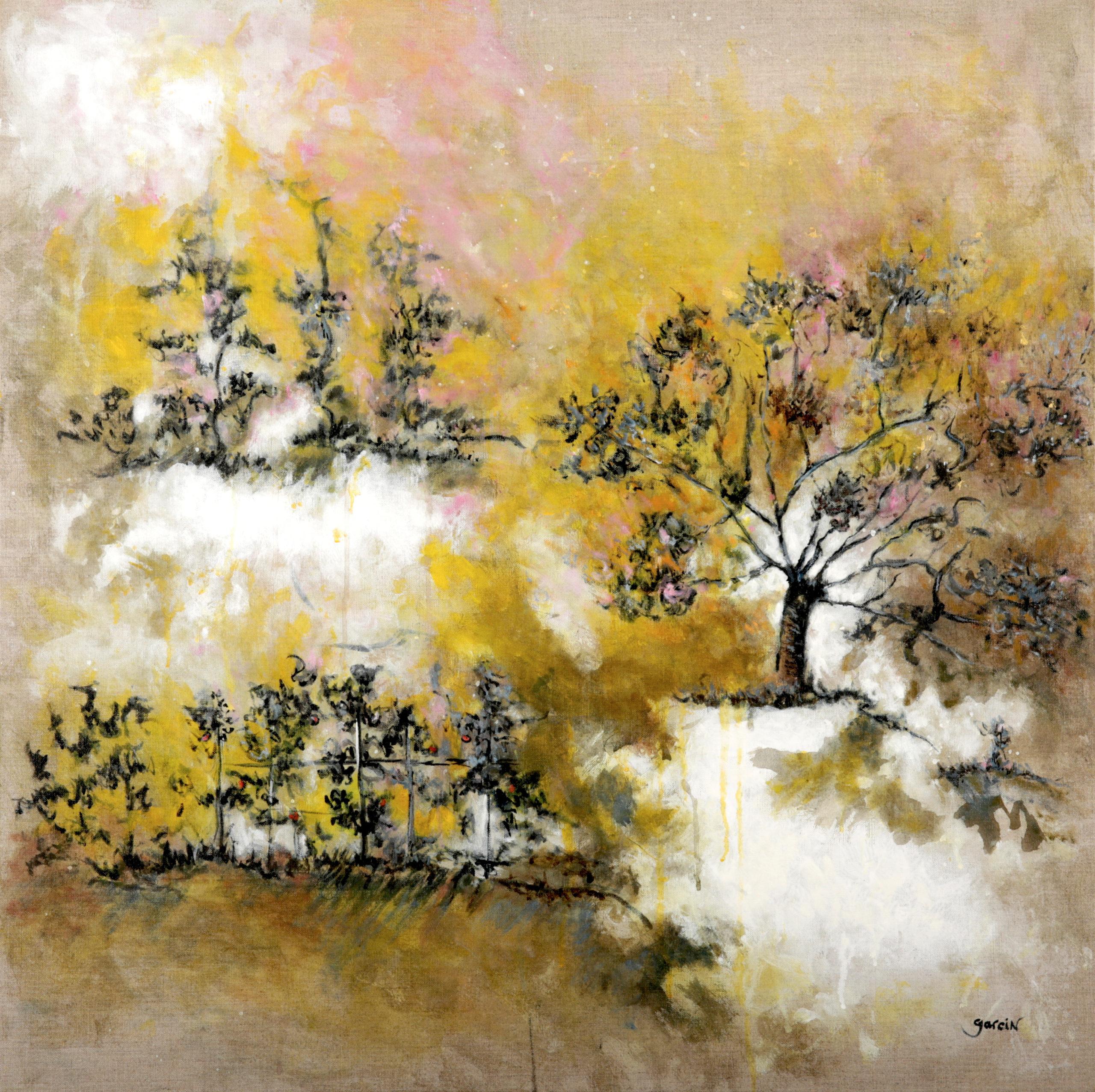 Jardin d'or, huile sur toile 80 X 80 cm