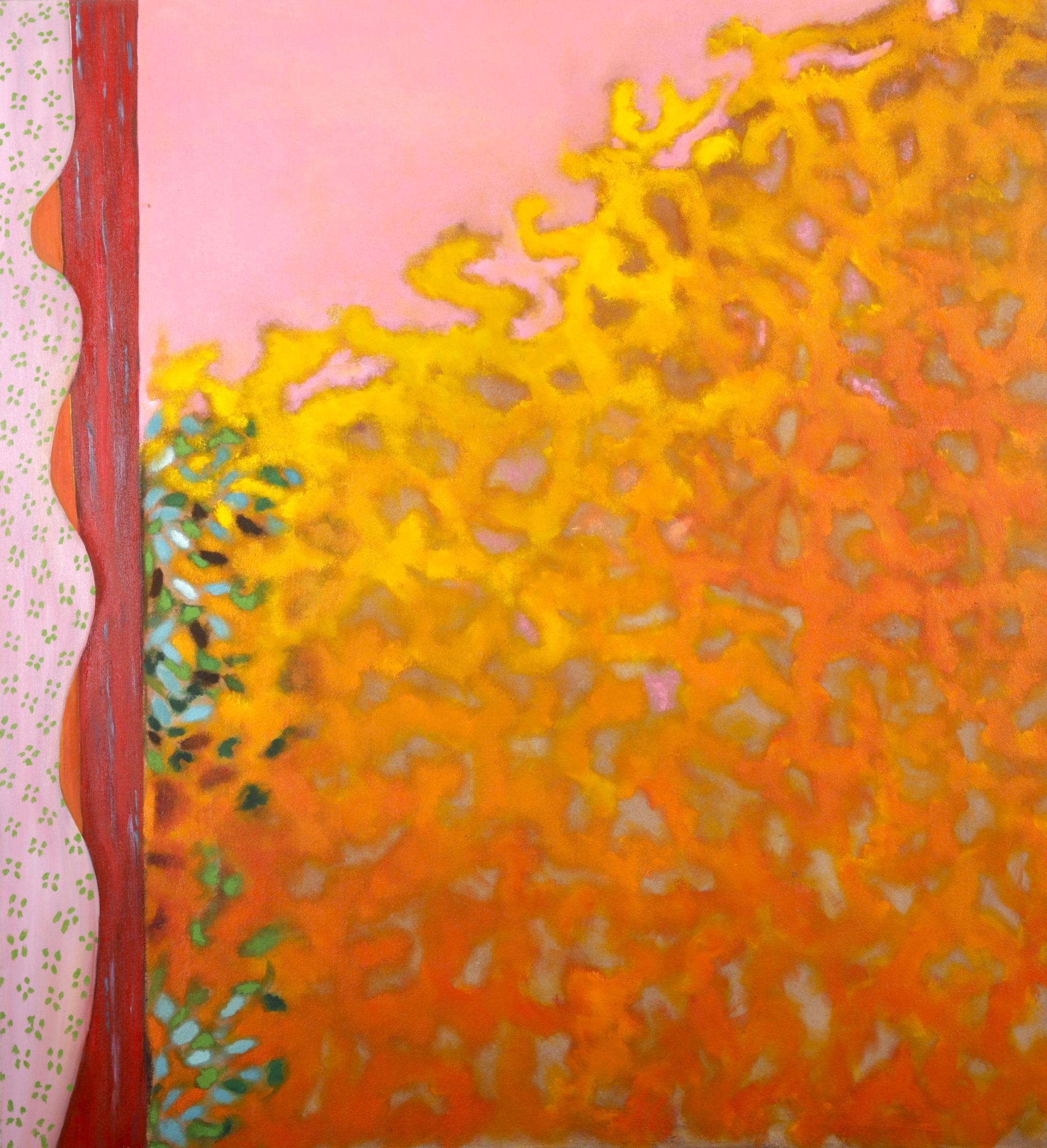 Le rideau, 1985, huile sur toile 120 X 120 cm