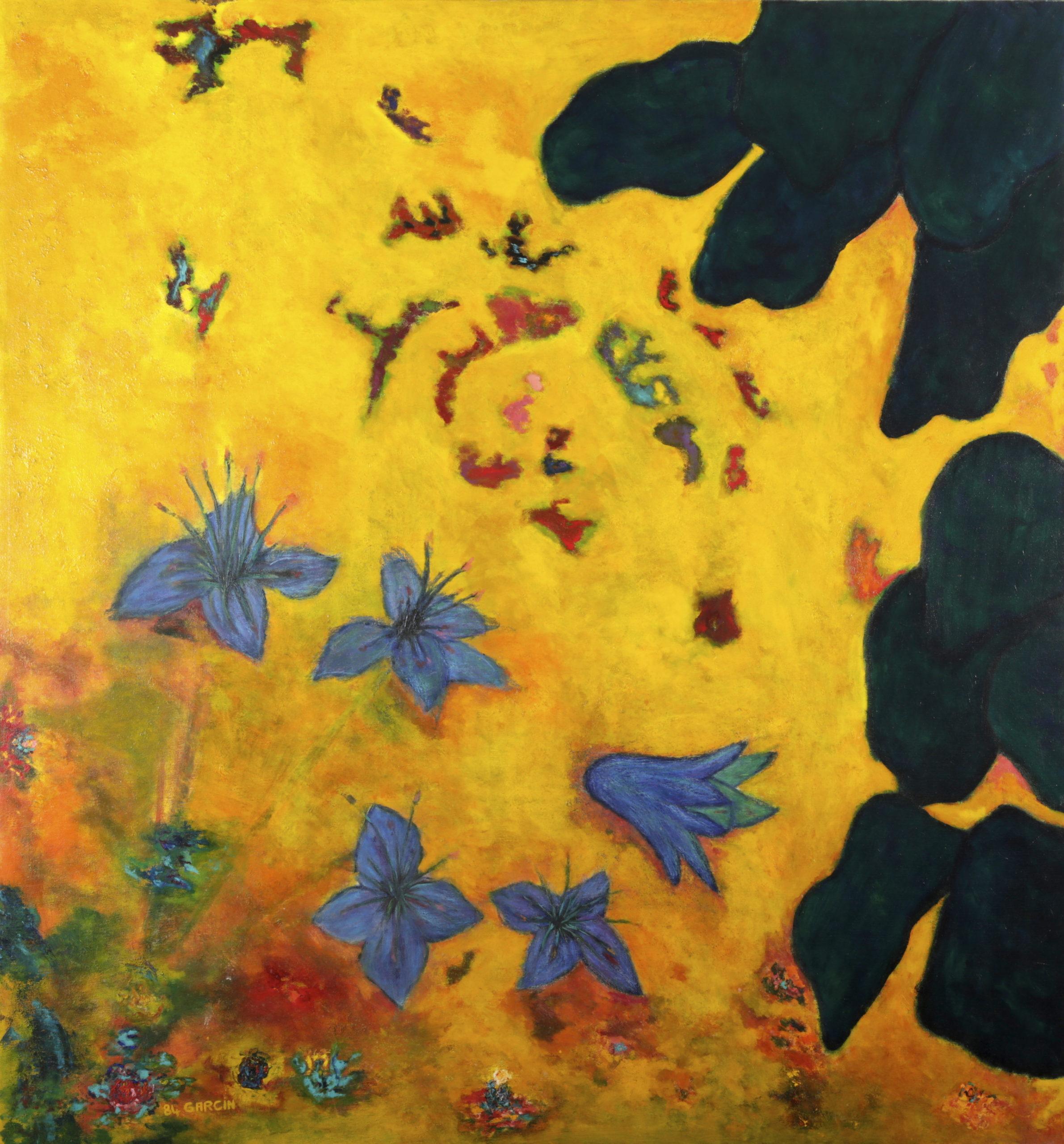 Pervenches, 1984, huile sur toile 130 X 130 cm