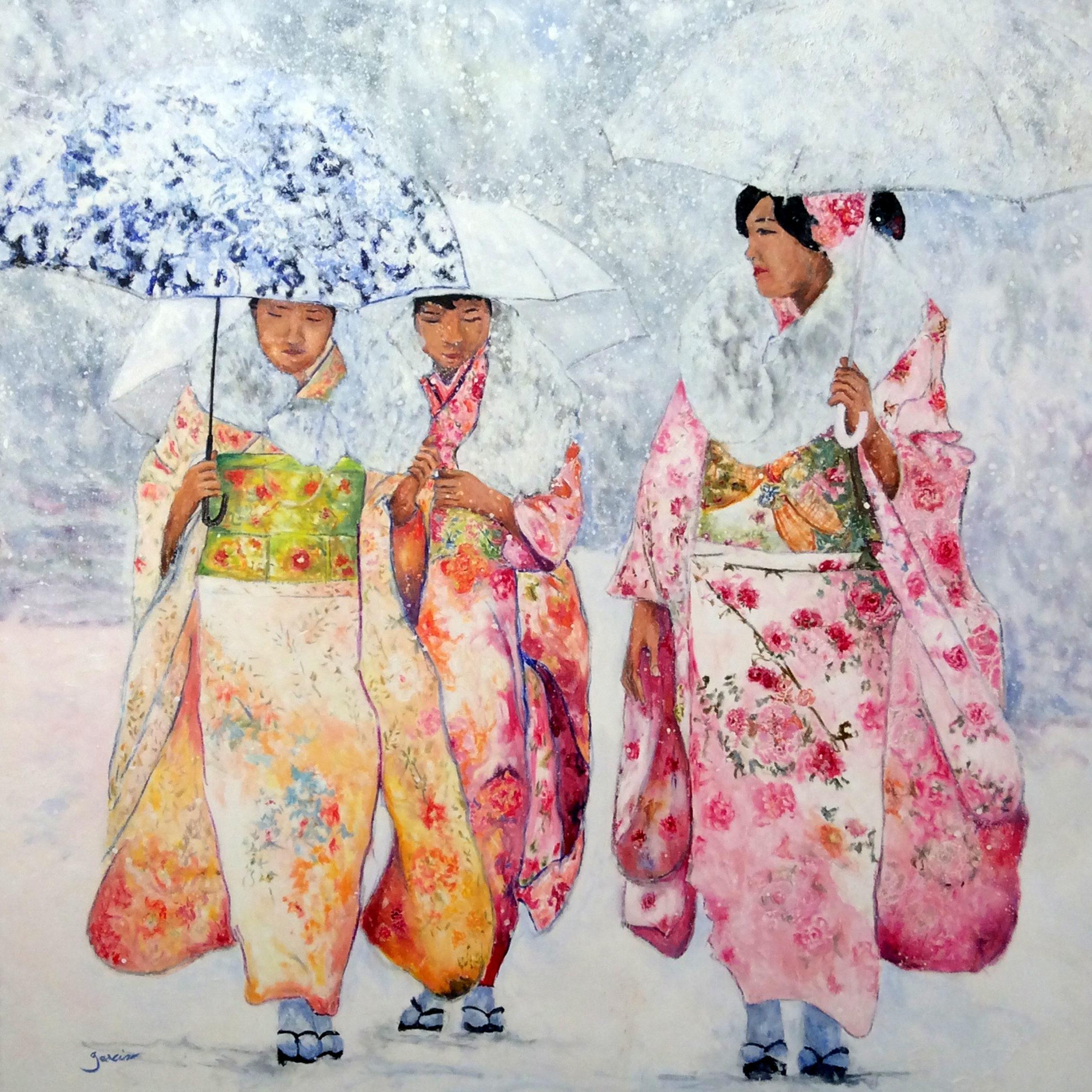 3 Geishas sous la neige, 2017, huile sur toile 120 x 120 cm.