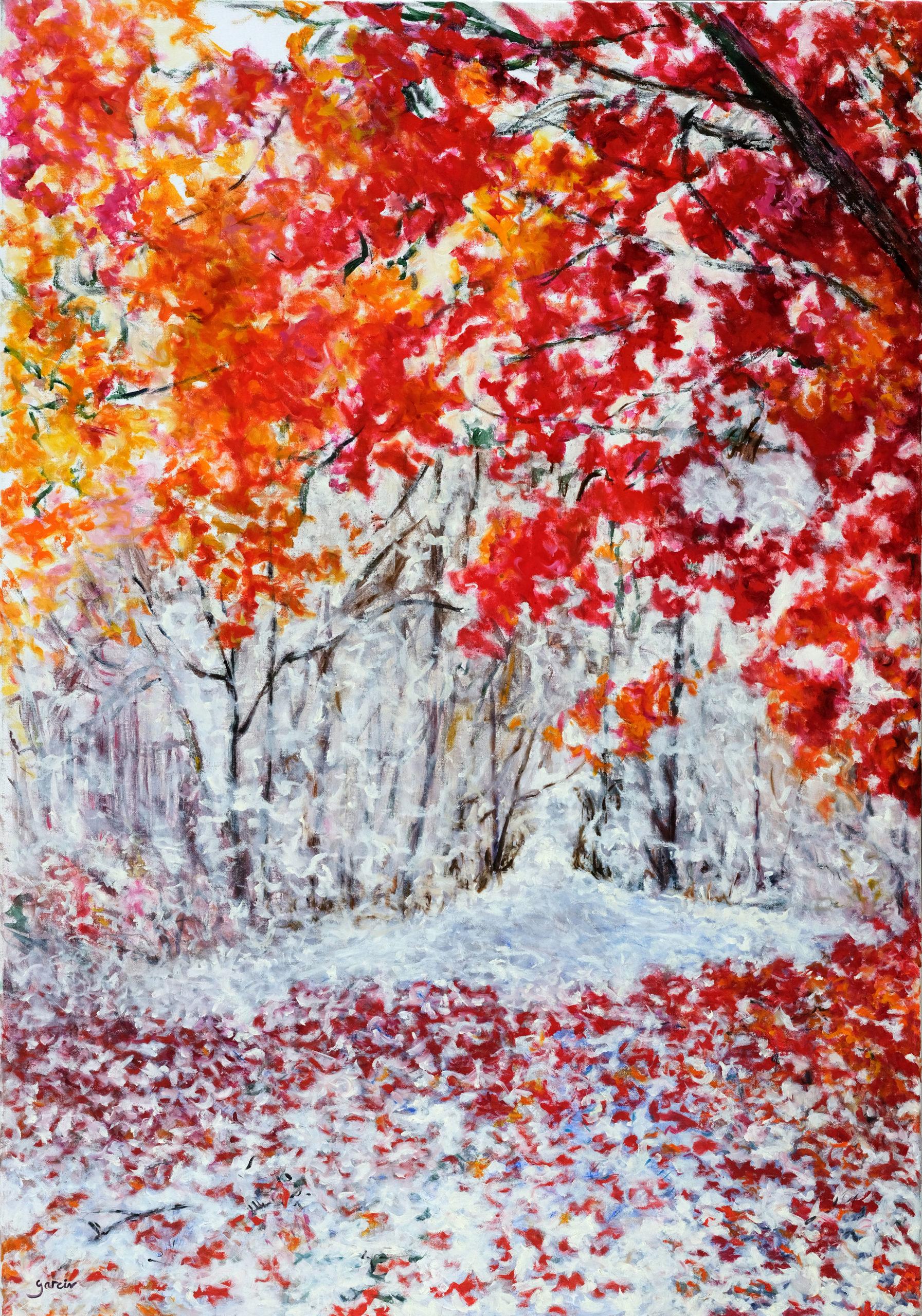 Paysage rouge enneigé, 2017, huile sur toile 100X81cm