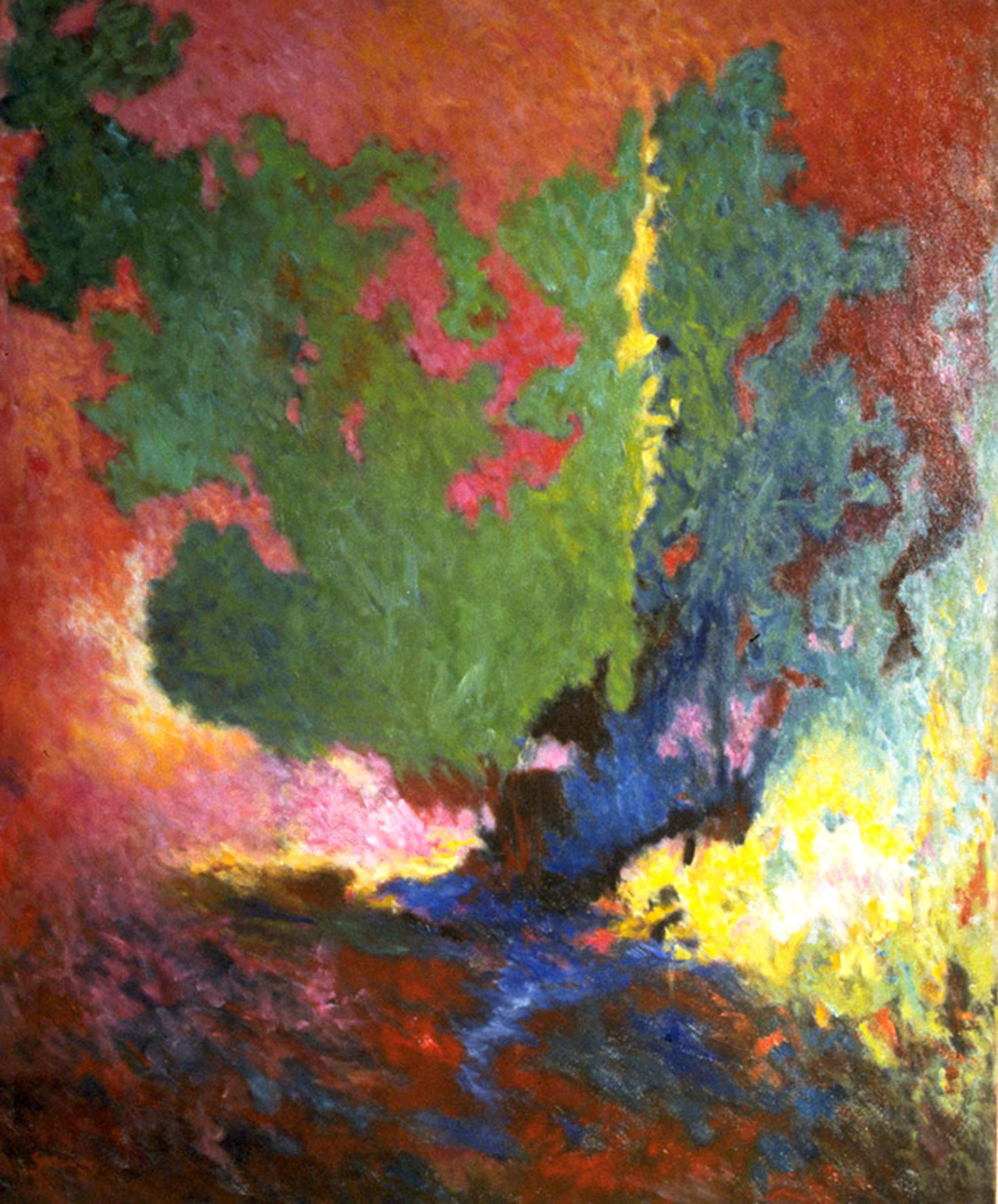 paysage, huile sur toile 100 X 82 cm