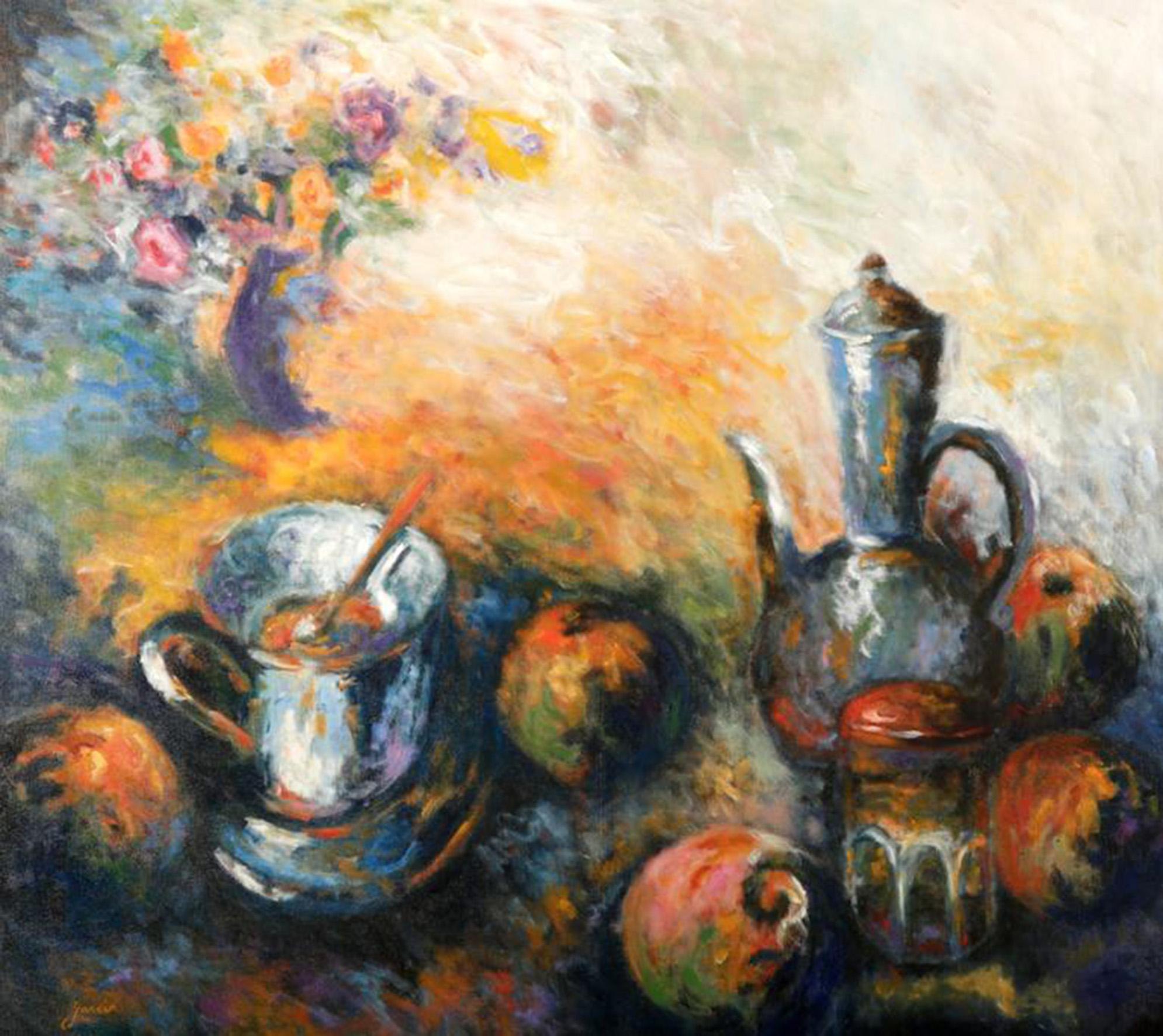 Déjeuner en paix, 1995, huile sur toile 130 X 100 cm