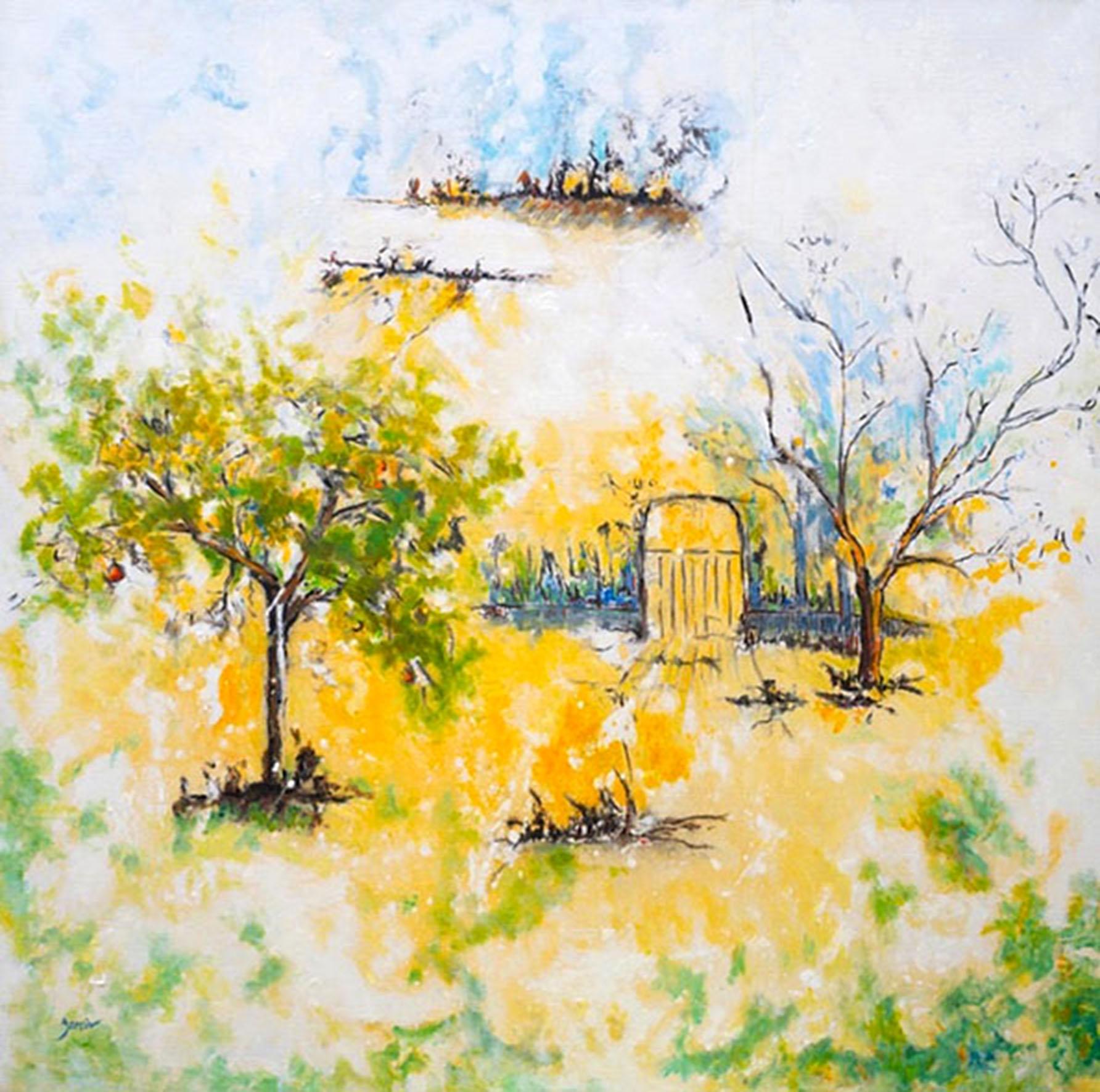 jardin, huile sur toile, 2017, 100 X 100 cm