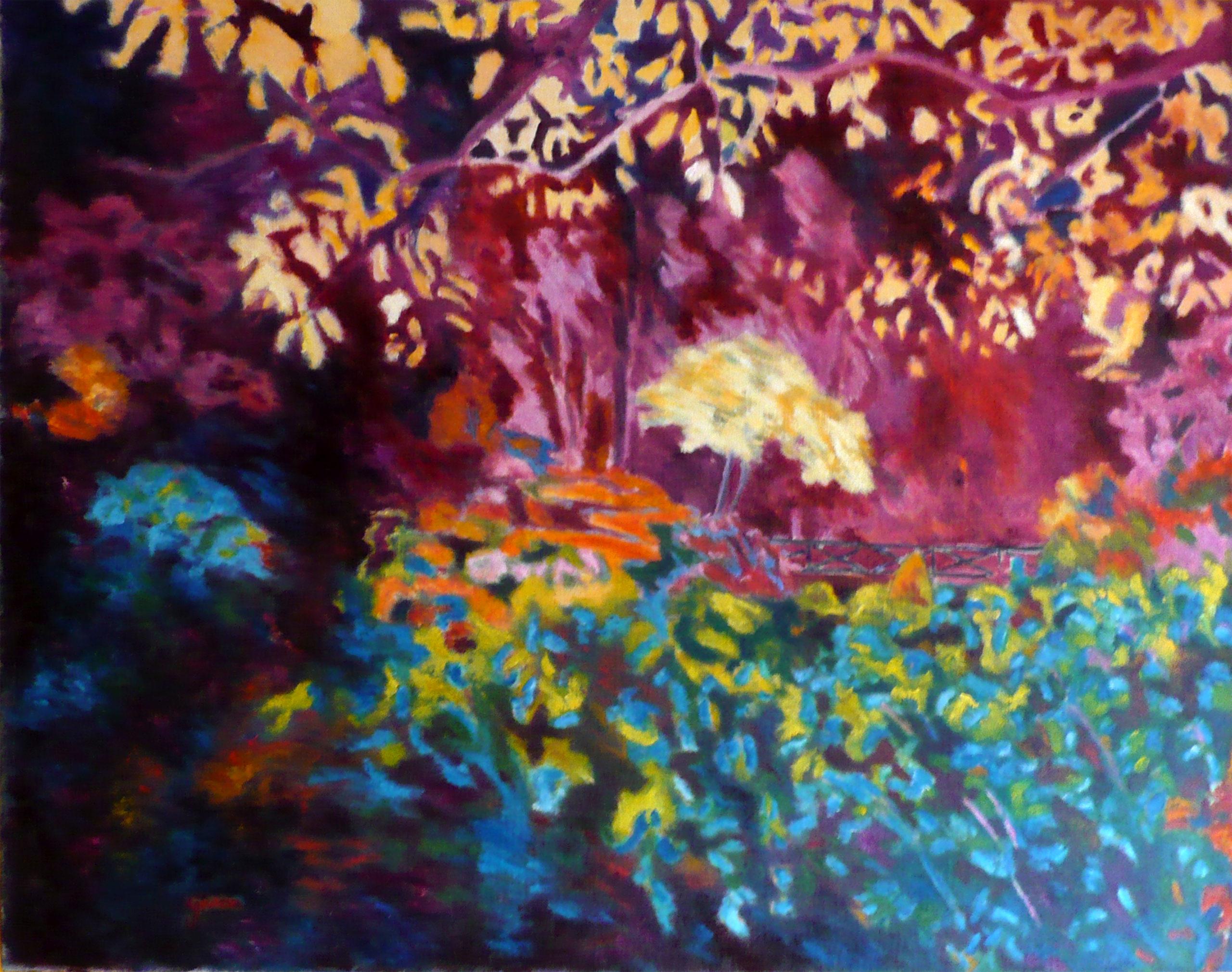 paysage violet, huile sur toile 100 x 80 cm