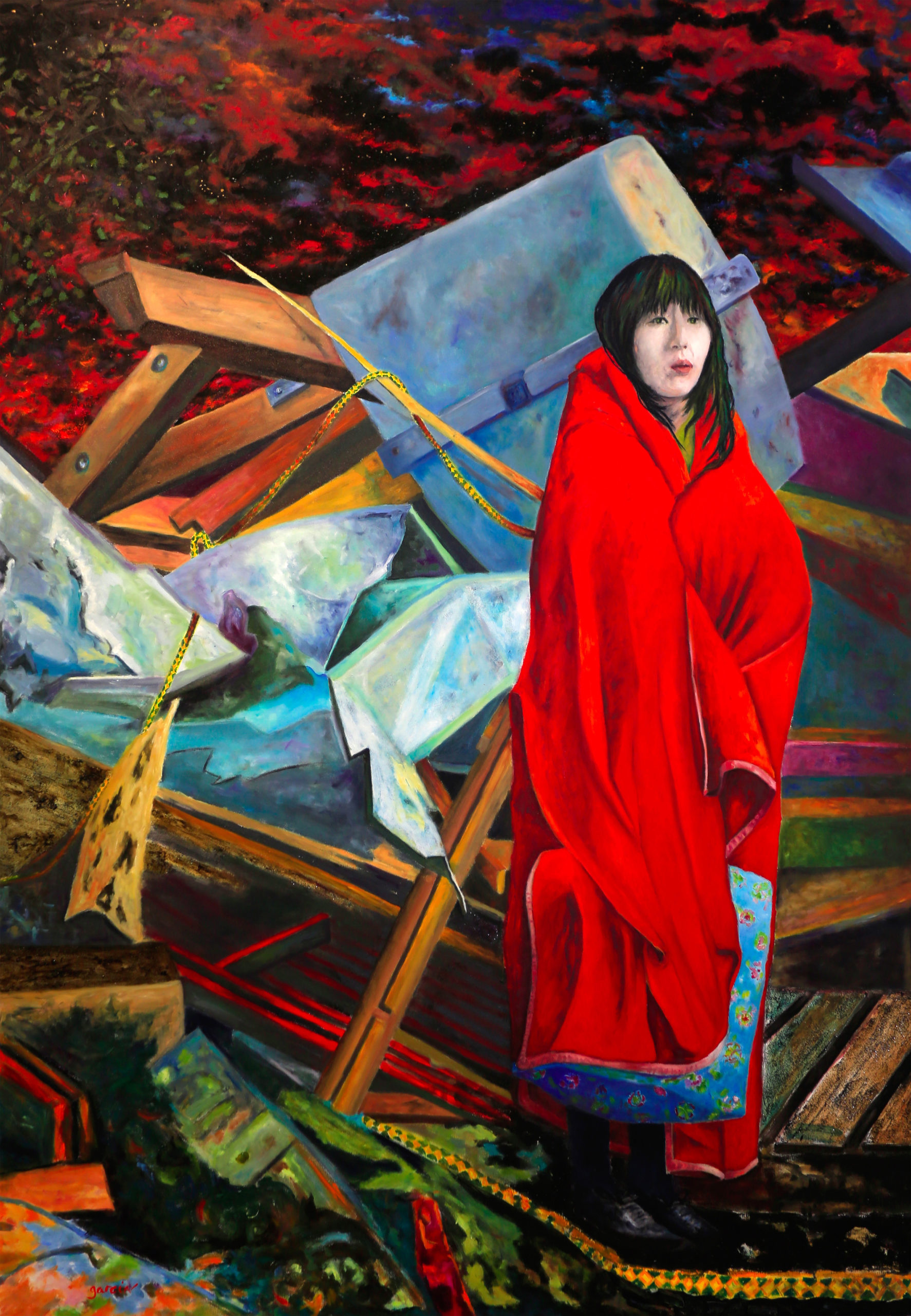 """VENUS de Fukushima"", 2018   huile sur toile 162 X 114 cm"